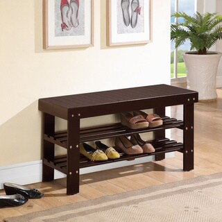 Solid Wood Espresso Finish Bench with Shoe Storage