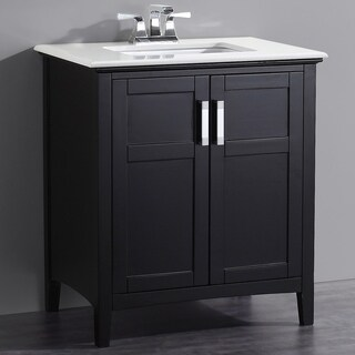 WYNDENHALL Salem Black 2-door 30-inch Bath Vanity Set with White Quartz Marble Top