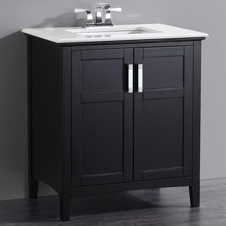 bathroom vanity with cabinet on top. WYNDENHALL Salem Black 2 door 30 inch Bath Vanity Set with White Quartz  Marble Storage Cabinet Bathroom Vanities Cabinets For Less