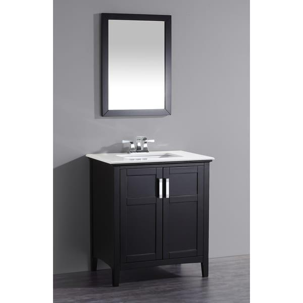 Wyndenhall M Black 2 Door 30 Inch Bath Vanity Set With White Quartz Marble