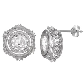 Gioelli Silverplated Cubic Zirconia Elegant Stud Earrings