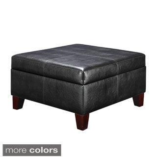 Avenue Greene Black Faux Leather Storage Ottoman