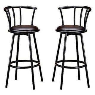 29-inch Black Finish Swivel Bar Stool Chairs (Set of two)