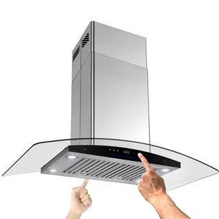 """AKDY RH0061 36"""" Stainless Curve Glass Island mount Range Hood Baffle Filter Dual Touch Panel"""