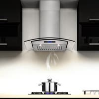 AKDY 30-inch OSWRHD05-30-AK Stainless Steel Curved Glass Wall Mount Range Hood