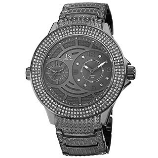 Joshua & Sons Men's Dazzling Swiss Quartz Diamond-Accented Black Bracelet Watch