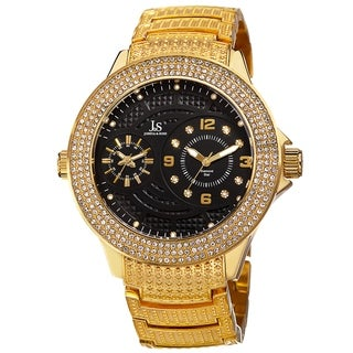 Joshua & Sons Men's Swiss Quartz Diamond-Accented Bracelet Watch with FREE GIFT