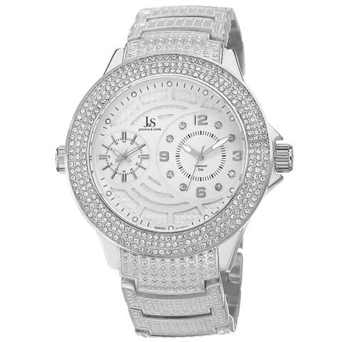 Joshua & Sons Men's Dazzling Swiss Quartz Diamond-Accented Silver-Tone Bracelet Watch