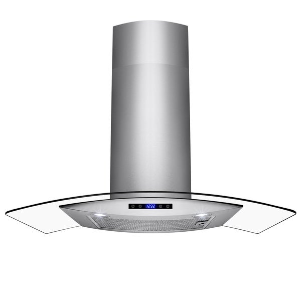 "AKDY 36"" Wall Mount Brushed Stainless Steel and Tempered Glass Touch Panel Kitchen Range Hood Cooking Fan"