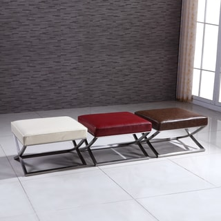 Signature Designs Modern Stainless Ottoman Bench