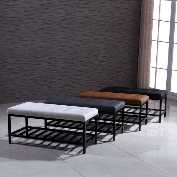 Shop Signature Designs Modern Metal Tufted Ottoman Bench
