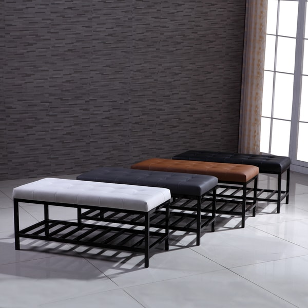 Shop Signature Designs Modern Metal Tufted Ottoman Bench On Sale Free Shipping