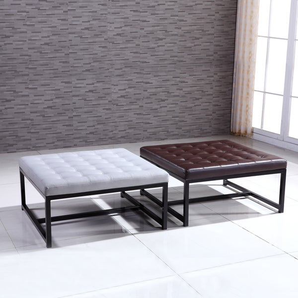 Shop Signature Designs Modern Metal Tufted Storage Ottoman