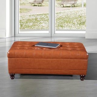 Luxury Comfort Collection Classic Saddle Brown Tufted Storage Bench Ottoman