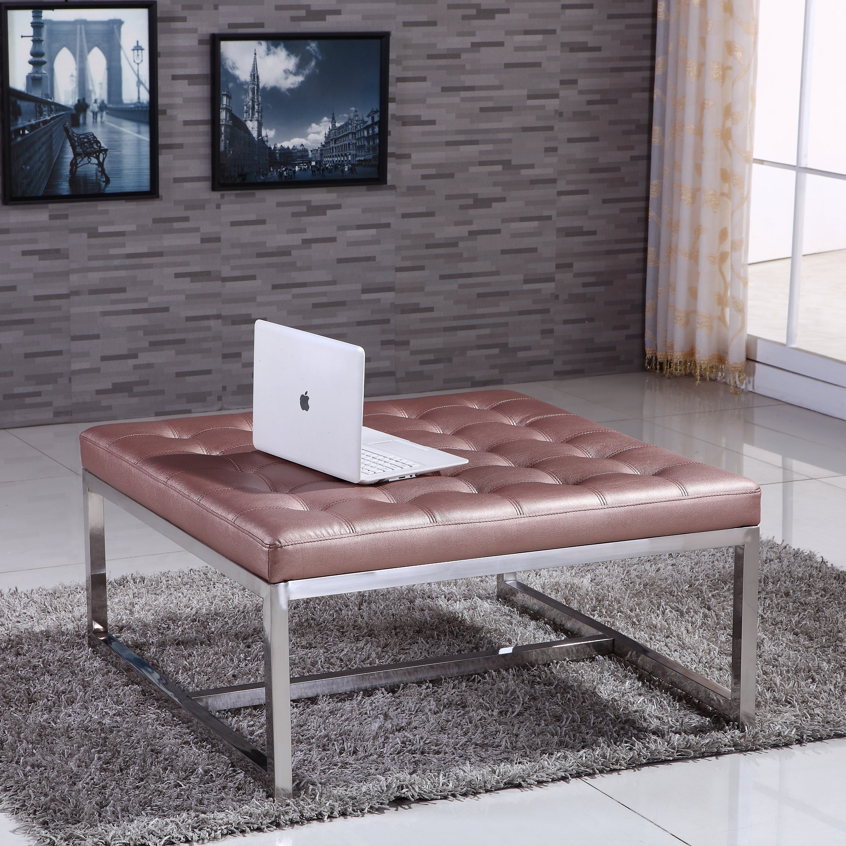 Signature Designs Royal Modern Stainless Steel Tufted Ben...