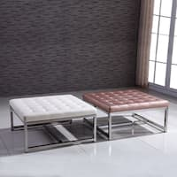Signature Designs Royal Modern Stainless Steel Tufted Bench Ottoman
