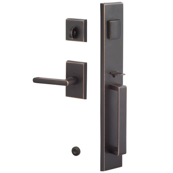 Sure Loc Vail Front Door Vintage Oil Rubbed Bronze Handle Set With Interior  Lever