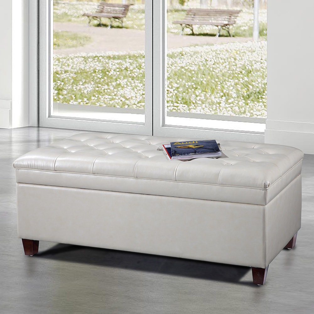 Visionxproroyal Comfort Collection Luxury White Tufted Storage Bench Ottoman White Button Tufted Storage Bench Ottoman Dailymail