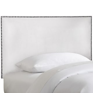 Skyline Furniture Nail Button Border Headboard in Micro-Suede White