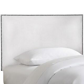 Skyline Furniture Nail Button Border Headboard in Micro-Suede White