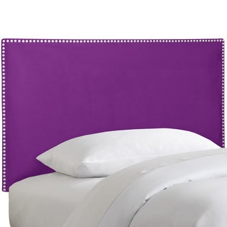 Skyline Furniture Nail Button Border Headboard in Micro-Suede Hot Purple