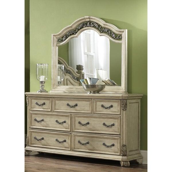 Greyson Living Laguna Antique White Panel Bed 6piece: Liberty Antique Ivory 7-drawer Dresser And Mirror Set