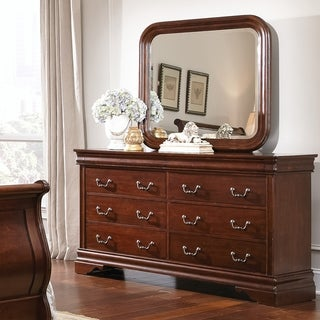 Cherry Louis Philippe 8-drawer Dresser and Mirror Set