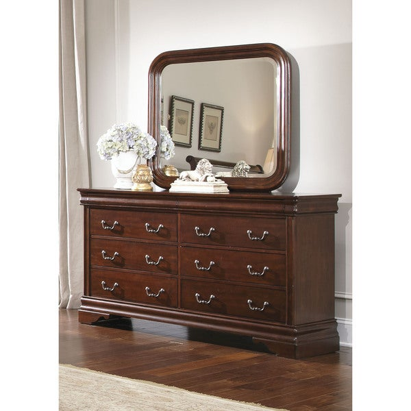 Cherry Louis Philippe 8 Drawer Dresser And Mirror Set