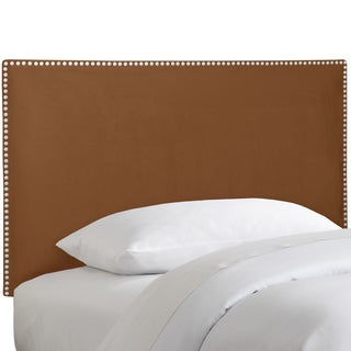 Skyline Furniture Nail Button Border Headboard in Micro-Suede Chocolate