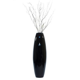 36-inch Black Lacquer Cylinder Vase with Branches
