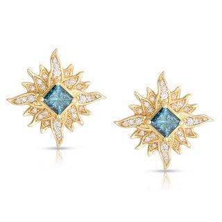 14k Yellow Gold 1 1/4ct TDW Blue Twinkling Star-Like Diamond Stud Earrings (Blue, I1-I2)