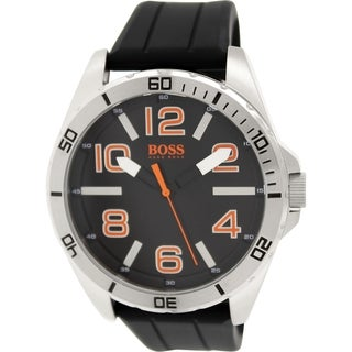 Hugo Boss Men's 1512943 Black Silicone Analog Quartz Watch with Black Dial