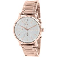 DKNY Women's  Rose goldtone stainless steel Quartz Watch with Silver Dial