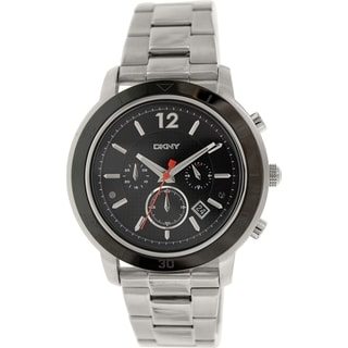 Dkny Men's Tompkins NY2164 Silver Stainless-Steel Analog Quartz Watch with Black Dial