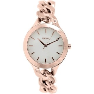 Dkny Women's Chambers NY2218 Rose goldtone stainless steel Quartz Watch with White Dial