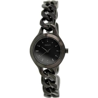 Dkny Women's Chambers NY2215 Black Stainless-Steel Quartz Watch with Black Dial|https://ak1.ostkcdn.com/images/products/9614153/P16798893.jpg?impolicy=medium