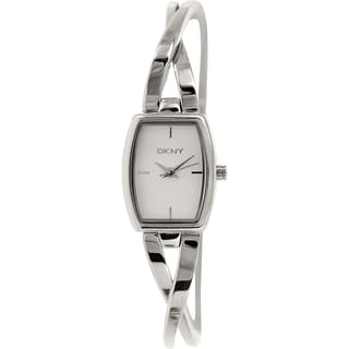 DKNY Women's Crosswalk NY2234 Silver Stainless-Steel Analog Quartz Watch with White Dial