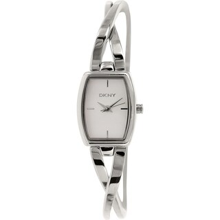 DKNY Women's Crosswalk Silver Stainless-Steel Analog Quartz Watch with White Dial