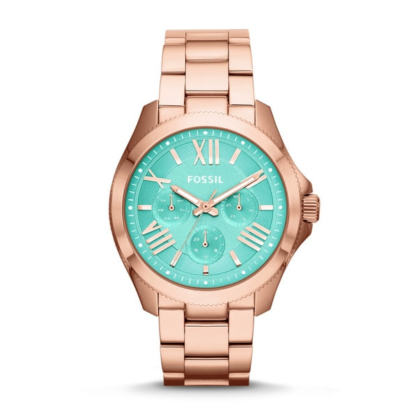 Fossil Women's Cecile AM4540 Rose goldtone stainless steel Analog Quartz Watch with Green Dial