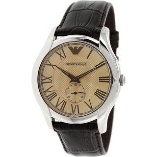 Emporio Armani Men's Classic AR1704 Brown Leather Quartz Watch with Rose goldtone Dial