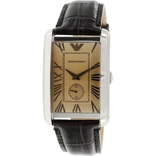 Emporio Armani Men's Classic AR1605 Brown Leather Analog Quartz Watch with Gold Dial