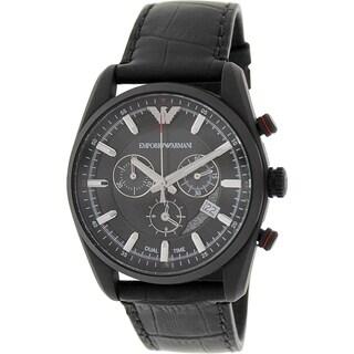 Emporio Armani Men's Sportivo AR6035 Black Leather Analog Quartz Watch with Black Dial
