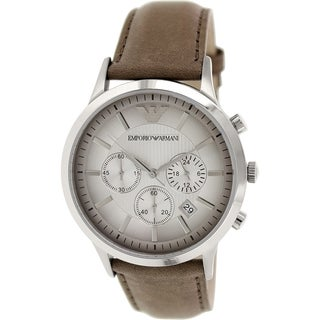 Emporio Armani Men's Classic AR2471 Brown Leather Analog Quartz Watch with Silver Dial