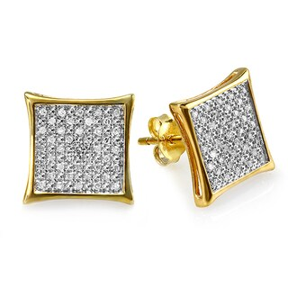 10k Yellow Goldplated Sterling Silver 1/4ct TDW Diamond Two-tone Micro Pave Earrings