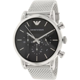 Emporio Armani Men's Classic AR1811 Silver Stainless-Steel Quartz Watch with Black Dial