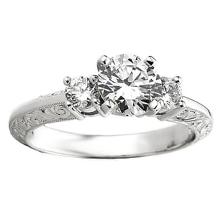 14k White Gold Round 1/3 TDW Diamond Bridal Semi Mount Engagement Ring