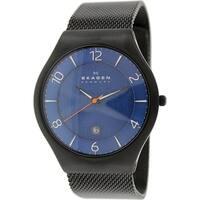 Skagen Men's  Black Stainless-Steel Quartz Watch with Blue Dial