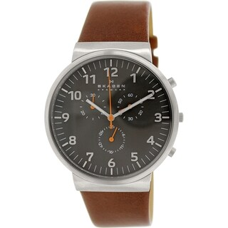 Skagen Men's Ancher Chronograph Grey Dial Brown Leather Watch