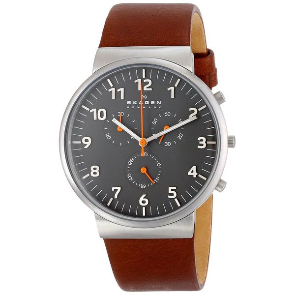 b9cd78af6 Shop Skagen Men's SKW6099 Ancher Chronograph Grey Dial Brown Leather Watch  - Free Shipping Today - Overstock - 9614267