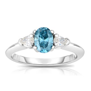 14k White Gold 5/8ct TDW Blue Oval-cut Diamond Engagement Ring (H-I, I1-I2)